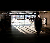 WARSAW, POLAND, FEBRUARY 2012:.Early morning at the Dworzec Wschodni (Eastern Station) in Warsaw. About 500 thousand people commute everyday from other towns and villages to work in the Polish capital..(Photo by Piotr Malecki / Napo Images)..Warszawa, Luty 2012:.Dworzec Wschodni w Warszawie. Okolo 500 tysiecy osob dojezdza codziennie z innych miast do pracy w Warszawie.  .Fot: Piotr Malecki / Napo Images