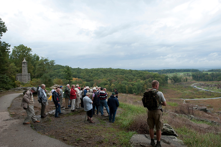 UNITED STATES -Sept 28: Gettysburg National Military Park. Visitors during a tour of the area known as Little Round Top where Union General Kemble Warren from the high ground defeated the southern troops down in the fields and woods below. (Photo By Douglas Graham/Roll Call )