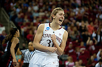 FRESNO, CA--Toni Kokenis celebrates two points during a 76-60 win over South Carolina at the Save Mart Center for the West Regionals semifinals of the 2012 NCAA Championships.