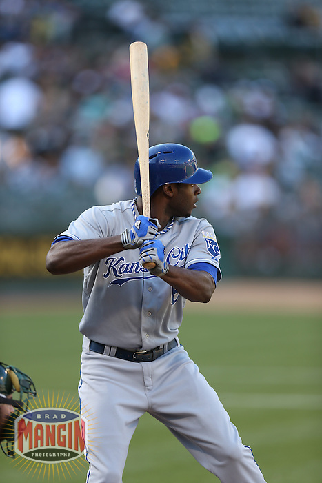 OAKLAND, CA - MAY 18:  Lorenzo Cain #6 of the Kansas City Royals bats against the Oakland Athletics during the game at O.co Coliseum on Saturday May 18, 2013 in Oakland, California. Photo by Brad Mangin