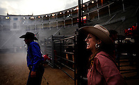 American cowboys exhibition during a rodeo in Plaza de Armas in Madrid, Spain