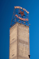 The iconic North Star Blankets Tower and signage in Downtown Minneapolis