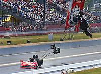 May 15, 2016; Commerce, GA, USA; NHRA funny car driver John Hale explodes the carbon fiber body off his car during the Southern Nationals at Atlanta Dragway. Hale was uninjured. Mandatory Credit: Mark J. Rebilas-USA TODAY Sports