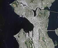 aerial photo map of Seattle, Washington