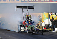 Feb. 14, 2013; Pomona, CA, USA; NHRA top fuel dragster driver Terry McMillen during qualifying for the Winternationals at Auto Club Raceway at Pomona.. Mandatory Credit: Mark J. Rebilas-