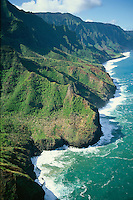 Aerial view of Na Pali Coast, Kauai, Hawaii, USA
