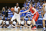 11 November 2016: Duke's Amile Jefferson (21) and Marist's Tobias Sjoberg (SWE) (right). The Duke University Blue Devils hosted the Marist College Red Foxes at Cameron Indoor Stadium in Durham, North Carolina in a 2016-17 NCAA Division I Men's Basketball game. Duke won the game 94-49.