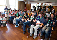 Reporters during a news conference in Hamburg, Germany, for the 2006 World Cup, June, 8, 2006.