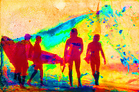 Seemingly colorized by the peeling away of the color layers of the image, silhouetted surfers prepare to take to the waves. (Posterization done in Photoshop). A historical photo, damaged artistically by flooding caused by Hurricane Sandy in October, 2012.