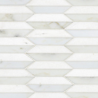 Fairfax 2, a natural stone mosaic shown in Thassos and honed Calacatta Tia, is part of the Silk Road Collection by Sara Baldwin for New Ravenna Mosaics. <br />