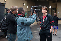 STANFORD, CA--Head Coach Tara Van derVeer speaks to local media before boarding the airport-bound bus en route to Norfolk, VA for the first and second rounds of the 2012 NCAA tournament.