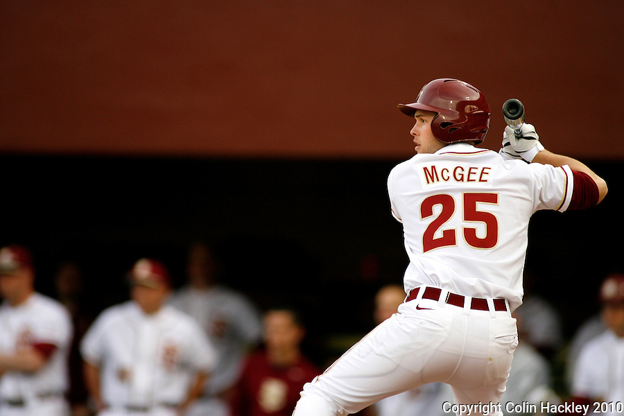TALLAHASSEE, FL 10-FSU-GA.ST. BASE10 CH16-Florida State's Mike McGee waits for a pitch during the Georgia State Friday at Dick Howser Stadium in Tallahassee. Mcgee had three RBIs. The Seminoles beat the Panthers 11-3 in the 2010 season opener...COLIN HACKLEY PHOTO