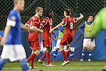 07 December 2012: Indiana's Femi Hollinger-Janzen (6) celebrates his goal with Nikita Kotlov (8) and Eriq Zavaleta (2). The Creighton University Bluejays played the Indiana University Hoosiers at Regions Park Stadium in Hoover, Alabama in a 2012 NCAA Division I Men's Soccer College Cup semifinal game.