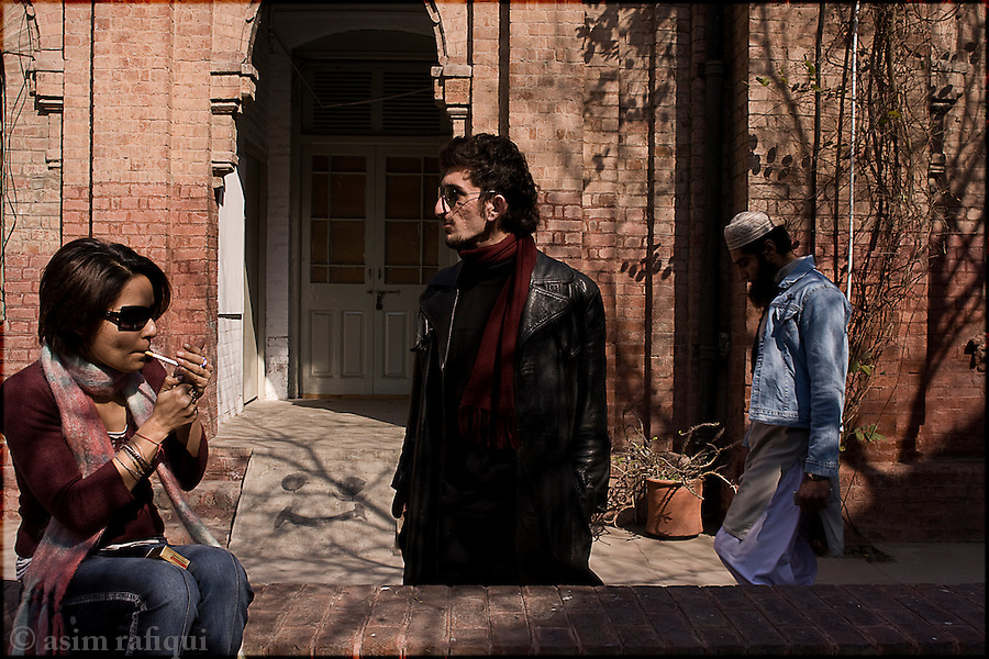 Students hang out in the court yard at the Lahore College of Arts, a progressive, liberal fine arts institute in Lahore