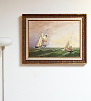 "Reproduction of William Bradford (1823-1892) Whaler off the Vineyard--Outward Bound, Digital Print, Image Dims. 20"" x 28"", Framed Dims. 27"" x 35"""
