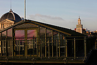 New Caledonia Glasshouse (formerly The Mexican Hothouse) built in the 1830s by Charles Rohault de Fleury, Jardin des Plantes, Museum National d'Histoire Naturelle, Paris, France. View from the side showing the glass and metal structure of the rooftop cupola in the early morning light. To the left is the Grand Gallery of Evolution, and in the background is the minaret of the Grande Mosquee de Paris (Great Mosque of Paris). The New Caledonia Glasshouse, or Hothouse, was the first French glass and iron building.