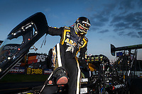 Sep 3, 2016; Clermont, IN, USA; NHRA top fuel driver Tony Schumacher celebrates after winning the Traxxas Shooutout speciality race during qualifying for the US Nationals at Lucas Oil Raceway. Mandatory Credit: Mark J. Rebilas-USA TODAY Sports