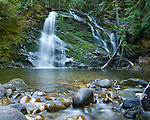 Idaho, North,Bonners Ferry, Kaniksu National Forest. Upper Snow Creek Falls in the Selkirk Range of the Kaniksu National Forest during low water flow.
