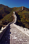 Great Wall of China rising up the mountain. Badaling, Beijing, China.