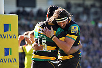 Ahsee Tuala of Northampton Saints celebrates his first half try with team-mate Tom Wood. Aviva Premiership match, between Northampton Saints and Leicester Tigers on March 25, 2017 at Franklin's Gardens in Northampton, England. Photo by: Patrick Khachfe / JMP