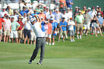 Harrison Frazar hits a shot on the 18th hole at the PGA FedEx St. Jude Classic at TPC Southwind in Memphis, Tenn. on Sunday, June 12, 2011. Harrison Frazar won the tournament on the third playoff hole against Robert Karlsson. The victory was Frazar's first ever on the PGA tour.
