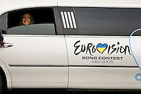 Kiev, Ukraine, 21/05/2005..The fiftieth Eurovision Song Contest..A model working for Samsung, one of the contest's major sponsors, arrive for the final in a stretch limousine.