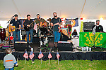 Fund raiser for firefighter Ray Pfeifer on Saturday, March 31, 2012, at East Meadow Firefighters Benevolent Hall, New York, USA. Rockland County toddler Brian Lavan (front left) danced to the songs of Celtic music band from Boston, Tin Can Hooley: (left to right) guest guitarist Bill Carey from the Fenian Sons; Will Sullivan, guitarist; Benny Upton, accordionist; John Donahoe, percussionist (at rear); Joe Wyatt, singer and fiddler; and Patrick Kennedy, singer and pianist.