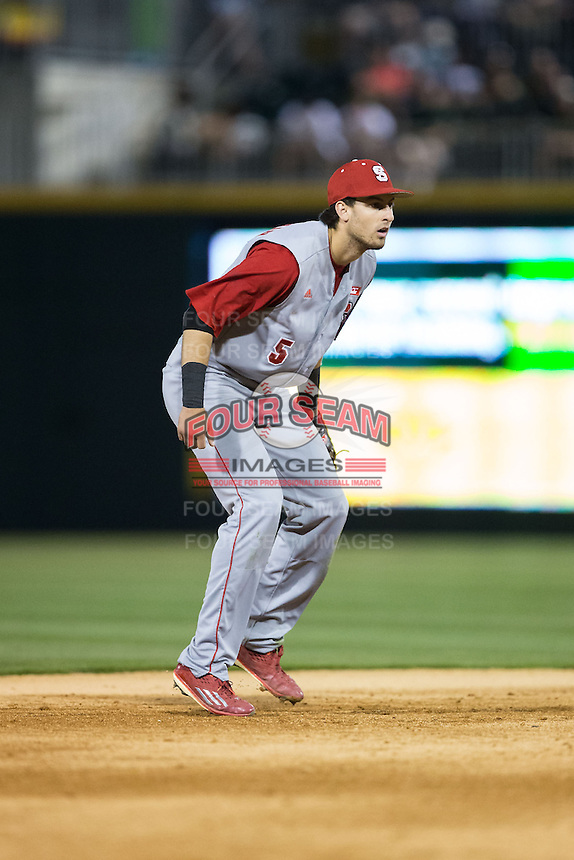 North Carolina State Wolfpack shortstop Joel McKeithan (5) on defense against the Charlotte 49ers at BB&T Ballpark on March 31, 2015 in Charlotte, North Carolina.  The Wolfpack defeated the 49ers 10-6.  (Brian Westerholt/Four Seam Images)
