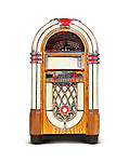 Wurlitzer Jukebox compact disk version of classic retro music playing device isolated on white background with clipping path