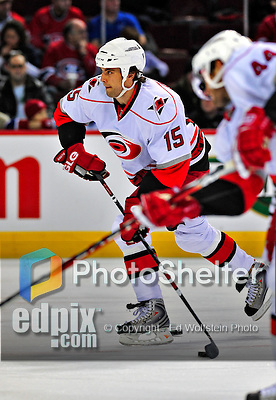 21 December 2008: Carolina Hurricanes' right wing forward Tuomo Ruutu from Finland warms up prior to a game against the Montreal Canadiens at the Bell Centre in Montreal, Quebec, Canada. The Hurricanes defeated the Canadiens 3-2 in overtime. ***** Editorial Sales Only ***** Mandatory Photo Credit: Ed Wolfstein Photo