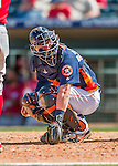 15 March 2016: Houston Astros catcher Tyler Heineman glances back to the dugout during a Spring Training pre-season game against the Washington Nationals at Osceola County Stadium in Kissimmee, Florida. The Astros fell to the Nationals 6-4 in Grapefruit League play. Mandatory Credit: Ed Wolfstein Photo *** RAW (NEF) Image File Available ***