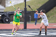 Towson, MD - March 25, 2017: Oregon Ducks Shannon Williams (36) passes the ball during game between Towson and Oregon at  Minnegan Field at Johnny Unitas Stadium  in Towson, MD. March 25, 2017.  (Photo by Elliott Brown/Media Images International)