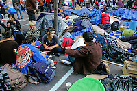 Protesters conversing during the Occupy Wall Street Protest in New York City October 6, 2011.