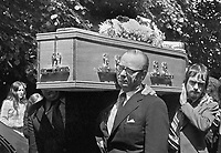Gerry Fitt, SDLP leader, helps carry the  coffin of his murdered colleague and election agent, Patrick Wilson as it leaves St Therese's Roman Catholic Church, Somerton Road, Belfast, N Ireland, UK. 197396280459b. Mr Wilson, was murdered, along with a female passenger in his car, by the UFF. 197306280459<br />