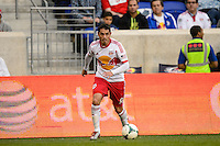 Fabian Espindola (9) of the New York Red Bulls. The New York Red Bulls defeated FC Dallas 1-0 during a Major League Soccer (MLS) match at Red Bull Arena in Harrison, NJ, on September 22, 2013.