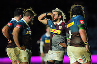 Luke Wallace of Harlequins holds his bloody nose during a break in play. Anglo-Welsh Cup match, between Harlequins and Sale Sharks on February 3, 2017 at the Twickenham Stoop in London, England. Photo by: Patrick Khachfe / JMP