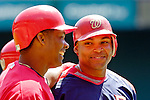 11 June 2006: Marlon Byrd (right), outfielder for the Washington Nationals, smiles with teammate Jose Guillen (left) outside the batting cage prior to a game against the Philadelphia Phillies at RFK Stadium, in Washington, DC. The Nationals shut out the visiting Phillies 6-0 to take the series three games to one...Mandatory Photo Credit: Ed Wolfstein Photo..