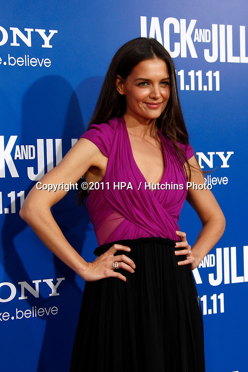 LOS ANGELES - NOV 6:  Katie Holmes arrives at the Jack and Jill Premiere at Regency Village Theatre on November 6, 2011 in Westwood, CA