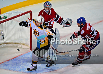 22 April 2009: Montreal Canadiens' goaltender Carey Price gives up a second period goal to Boston Bruins' center Phil Kessel (81) at the Bell Centre in Montreal, Quebec, Canada. The Canadiens, entering the contest down three games to none, were eliminated from Stanley Cup competition with the 4-1 loss and series sweep by the Division winning Bruins. ***** Editorial Sales Only ***** Mandatory Credit: Ed Wolfstein Photo