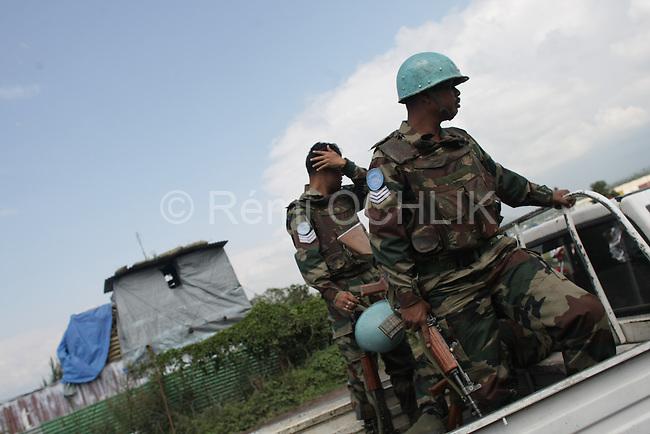 © Remi OCHLIK/IP3, Goma, Republique Democratique du Congo, le 19 novembre 2008 - Une patrouille de soldats indiens de la MONUC securise les rue de Goma..MONUC patrol in the streets of Goma