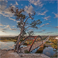 It's early morning in this Pennybacker Bridge image. This picture was captured on a weekend, so there was little traffic as the sun rose in the east. In the far corner, you can see the Austin skyline in the distance. ..Mornings are nice like this at the 360 bridge. You'll often have the cliff to yourself to enjoy the views and contemplate what the day has in store, or what life has in store!.