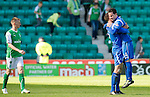 Hibs v St Johnstone.....30.04.11.Kevin Moon is hugged by Graham Gartland at full time after he scored the late winner.Picture by Graeme Hart..Copyright Perthshire Picture Agency.Tel: 01738 623350  Mobile: 07990 594431