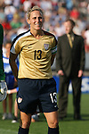 14 July 2007: United States' Kristine Lilly, wearing the brand new gold U.S. Womens World Cup jersey. The United States Women's National Team defeated their counterparts from Norway 1-0 at Rentschler Stadium in East Hartford, Connecticut in a women's international friendly soccer game.