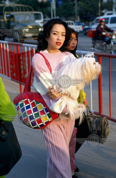 A smartly dressed woman carrying her pet dog, in China's richest city in the centre of the Special Economic Zone created just over the border from Hong Kong.  ..