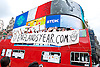 England's Year - a World Cup 2014 song by Muddy Boots from Windsor - open-top bus spotted in London's Piccadilly Circus today 14th June 2014. <br /> <br /> Photograph by Elliott Franks