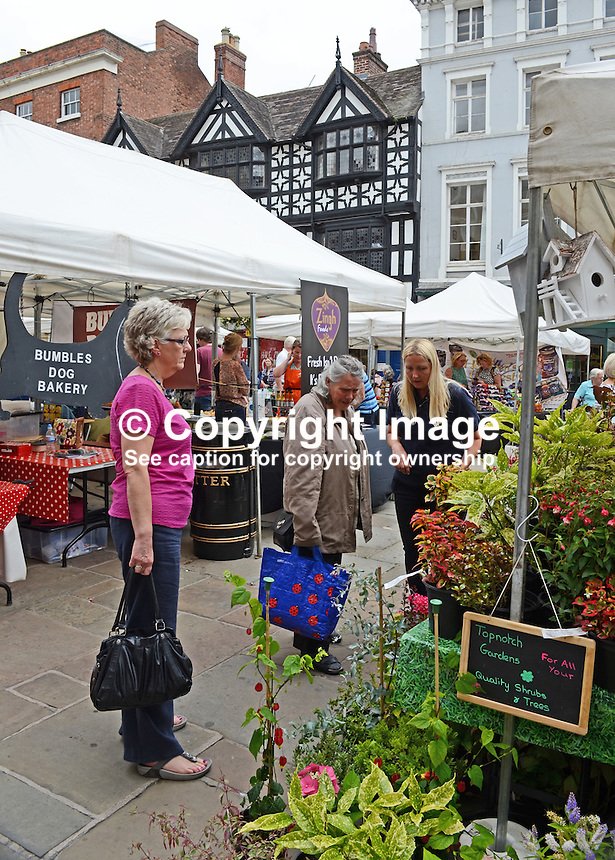 Open-air market, Shrewsbury, Shropshire, UK, historic, market town, with largely unaltered medieval street plan. It has over 660 listed buildings. July 2014. 201407043194<br /> <br /> Copyright Image from Victor Patterson, 54 Dorchester Park, Belfast, UK, BT9 6RJ<br /> <br /> Tel: +44 28 9066 1296<br /> Mob: +44 7802 353836<br /> Voicemail +44 20 8816 7153<br /> w: victorpatterson.com<br /> <br /> e1: victorpatterson@me.com<br /> e2: victorpatterson@gmail.com<br /> <br /> <br /> IMPORTANT: Please see my Terms and Conditions of Use at www.victorpatterson.com