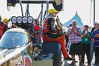 Apr 23, 2017; Baytown, TX, USA; NHRA top fuel driver Leah Pritchett celebrates after winning the Springnationals at Royal Purple Raceway. Mandatory Credit: Mark J. Rebilas-USA TODAY Sports