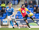 St Johnstone v Partick Thistle&hellip;29.10.16..  McDiarmid Park   SPFL<br />Ryan Edwards and Liam Craig<br />Picture by Graeme Hart.<br />Copyright Perthshire Picture Agency<br />Tel: 01738 623350  Mobile: 07990 594431