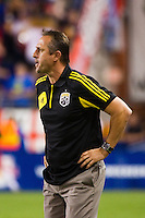 Columbus Crew head coach Robert Warzycha. The New York Red Bulls defeated the Columbus Crew 3-1 during a Major League Soccer (MLS) match at Red Bull Arena in Harrison, NJ, on September 15, 2012.