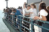 Santa Monica High School students collect plankton at the Santa Monica Pier during Benjamin Kay's  Marine Biology class on Thursday, October 6, 2011...